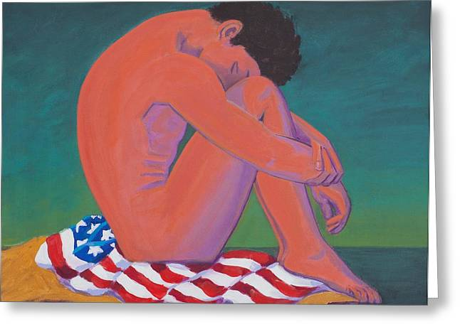 Patriotism Paintings Greeting Cards - Questioning Patriotism Greeting Card by Frank Strasser