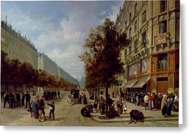 1811 Greeting Cards - Queueing at the Door of a Grocery Greeting Card by Jacques Guiad