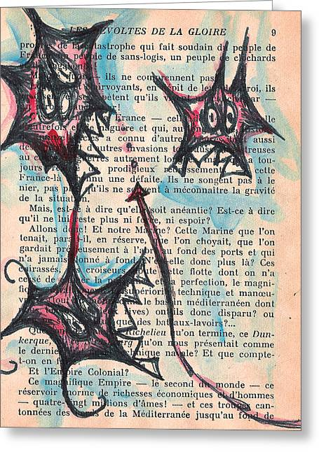 Trio Mixed Media Greeting Cards - Qui Fait Greeting Card by Jera Sky