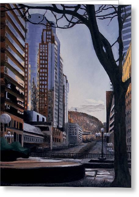Montreal Urban Landscapes Greeting Cards - Quicksilver Greeting Card by Duane Gordon