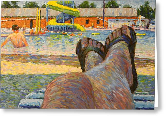 Wahoo Greeting Cards - Quiet Day at the Pool Greeting Card by Jes Ewers