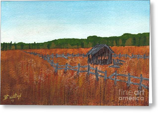 Shed Paintings Greeting Cards - Quiet Fields  Greeting Card by Bonnie Wilson