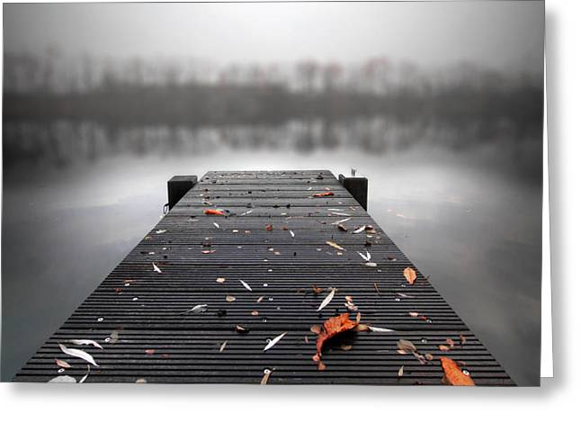 Pier Greeting Cards - Quiet Lake Greeting Card by Marc Huebner