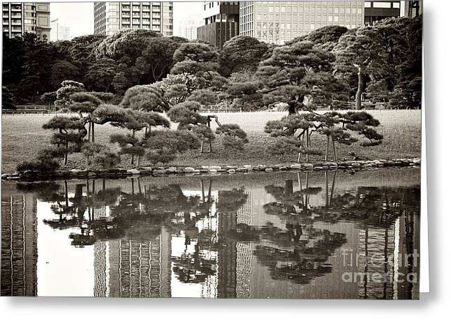 Art Of Building Greeting Cards - Quiet Moment in Tokyo Greeting Card by Carol Groenen