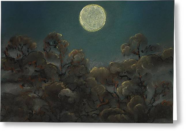 Folkartanna Paintings Greeting Cards - Quiet Night Greeting Card by Anna Folkartanna Maciejewska-Dyba