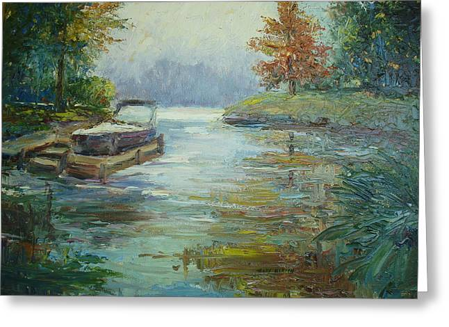 Pallet Knife Greeting Cards - Quiet Place Greeting Card by Holly LaDue Ulrich