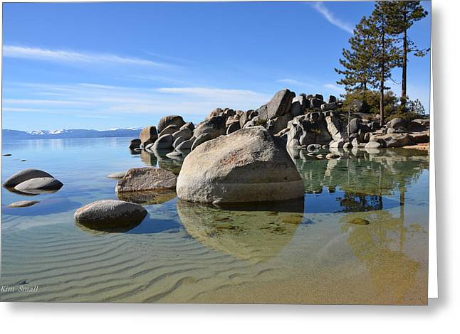 Calm Pyrography Greeting Cards - Quiet Waters Lake Tahoe Greeting Card by Kim Small