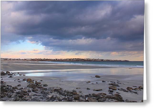 Quiet Winter Day at York Beach Greeting Card by John Burk