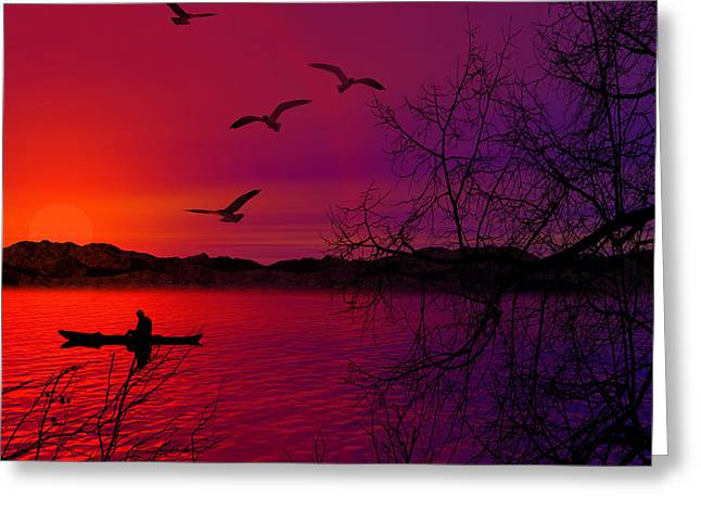 Purples Digital Art Greeting Cards - Quietude Greeting Card by Lourry Legarde