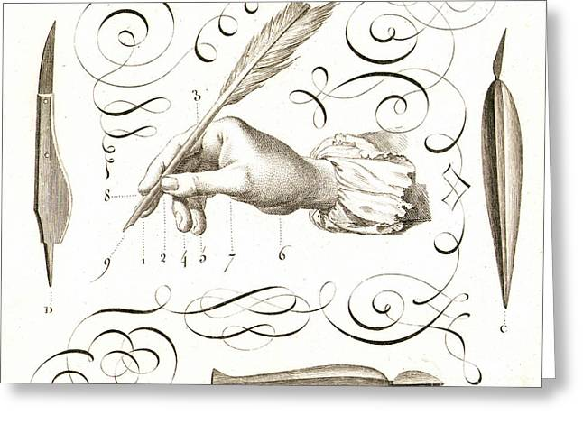 18th Century Greeting Cards - QUILL, 18th CENTURY Greeting Card by Granger