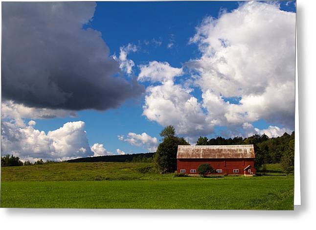 Red Barn Prints Greeting Cards - Quintessential Vermont Greeting Card by Stephanie McDowell