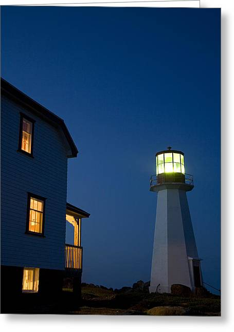 Jul08 Greeting Cards - Quirpon Island Lighthouse And Inn Greeting Card by John Sylvester