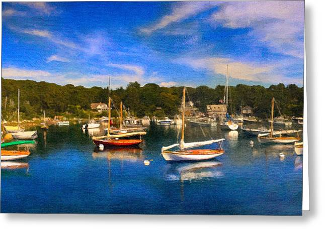 Sailboat Ocean Mixed Media Greeting Cards - Quisset Harbor Greeting Card by Michael Petrizzo