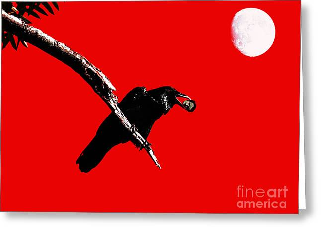 Wing Tong Greeting Cards - Quoth The Raven Nevermore . Red Greeting Card by Wingsdomain Art and Photography