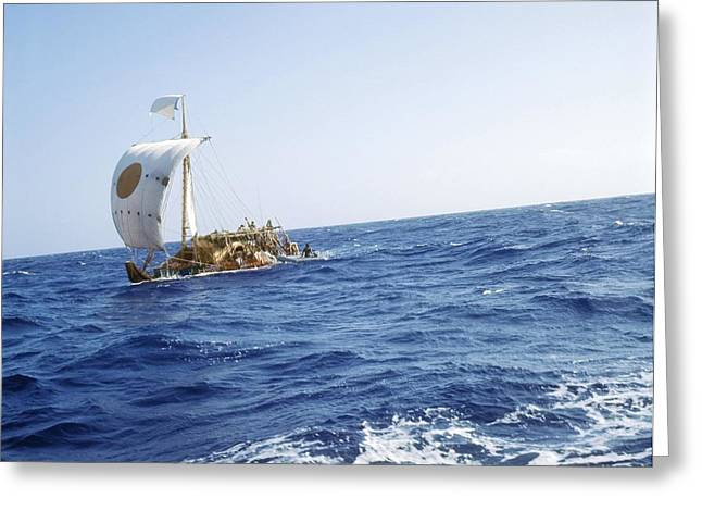 Ras Greeting Cards - Ra-2 Papyrus Boat In The Atlantic Ocean Greeting Card by Ria Novosti