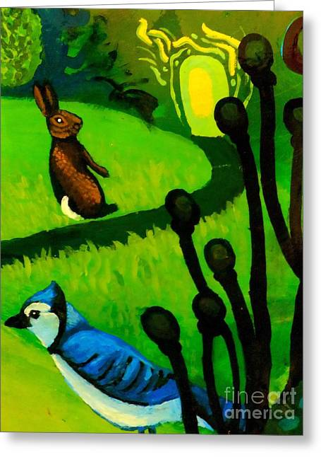 Imaginative Art Prints Greeting Cards - Rabbit and Blue Jay Greeting Card by Genevieve Esson