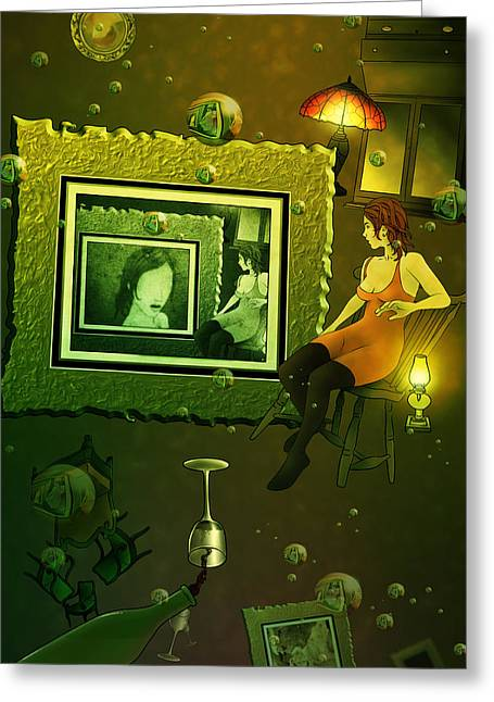 Wine Pour Digital Greeting Cards - Rabbit Hole Greeting Card by Aaron Rutten