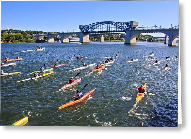 Chattanooga Tn Greeting Cards - Race on the River Greeting Card by Tom and Pat Cory