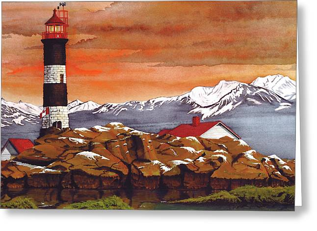 North Vancouver Mixed Media Greeting Cards - Race Rocks Lighthouse Greeting Card by James Lyman