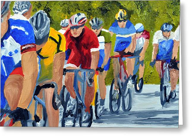 Race Warm Up Greeting Card by Michael Lee
