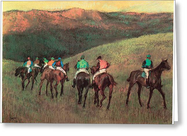 Race Horse Greeting Cards - Racehorses in a Landscape Greeting Card by Edgar Degas