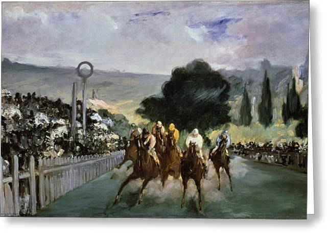 Race Horse Greeting Cards - Races at Longchamp Greeting Card by Edouard Manet