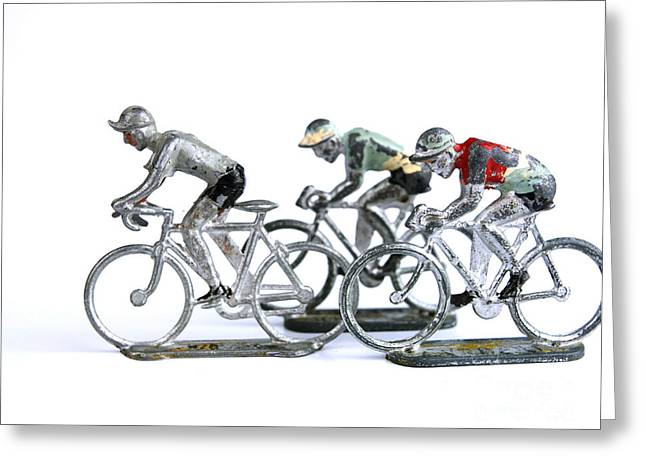 Cut-outs Greeting Cards - Racing cyclist Greeting Card by Bernard Jaubert
