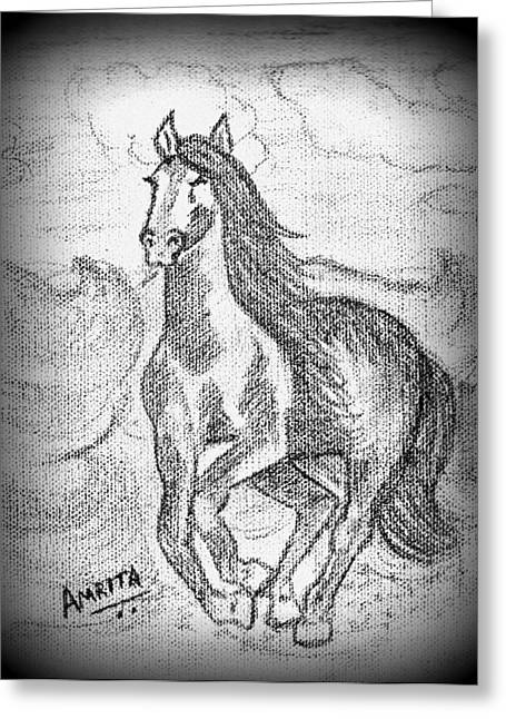 Competition Pastels Greeting Cards - Racing Horse Greeting Card by Amrita Gupta