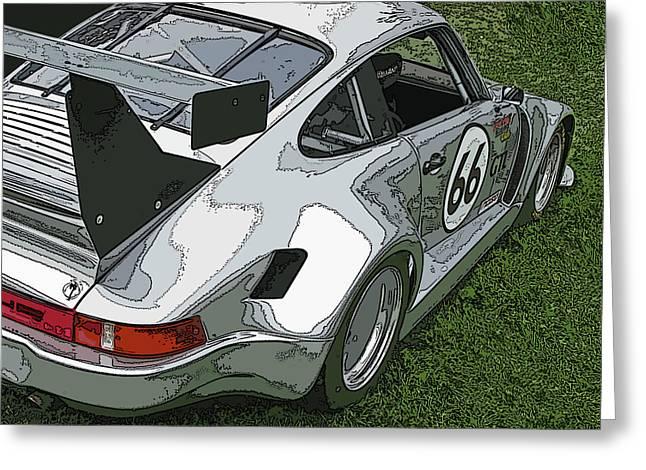Sam Sheats Greeting Cards - Racing Porsche No. 66 Greeting Card by Samuel Sheats