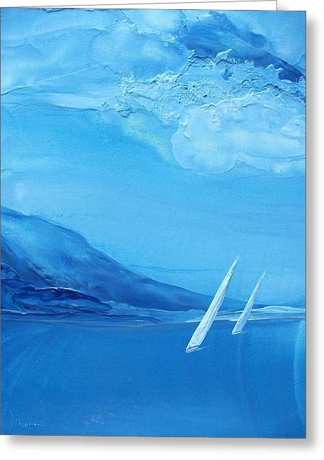 Wind Surfing Art Paintings Greeting Cards - Racing Sailboats 6 Greeting Card by Danita Cole