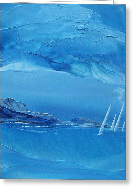 Wind Surfing Art Paintings Greeting Cards - Racing Sailboats Greeting Card by Danita Cole