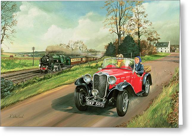 Old Car Greeting Cards - Racing the Train Greeting Card by Richard Wheatland