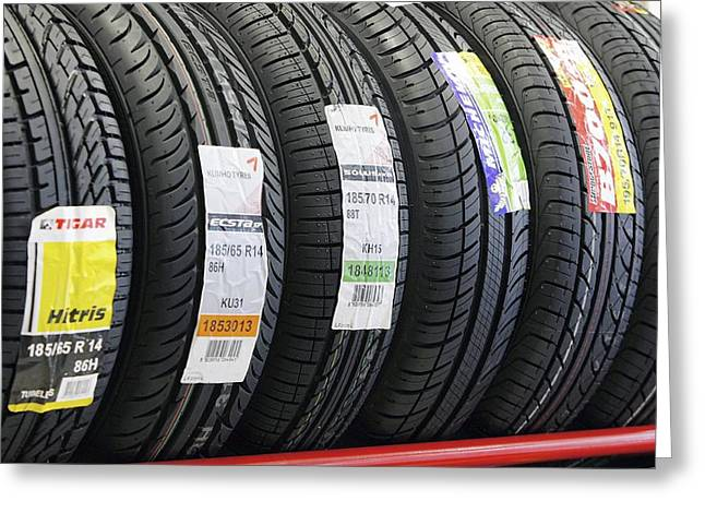 Rack Of Car Tyres Greeting Card by Ria Novosti