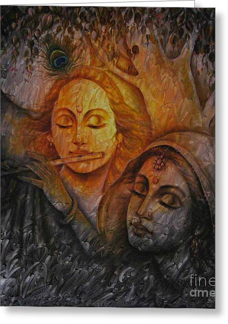 Devotional Art Mixed Media Greeting Cards - Radha Krishna Series Greeting Card by Prince Chand