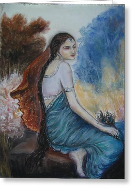 Mythology Pastels Greeting Cards - Radha Greeting Card by Pvuthark Vuthark