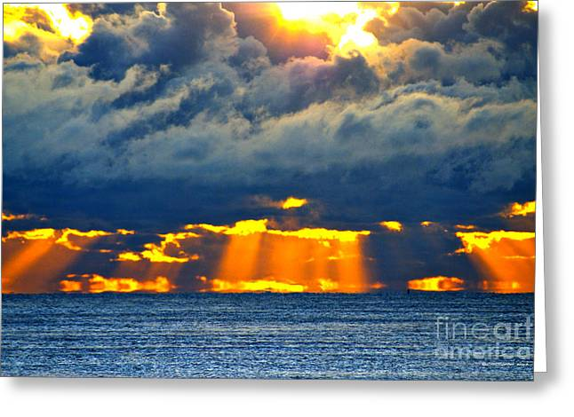 Beach Photos Greeting Cards - Radiant Sun Rise  Greeting Card by Christopher  Ward