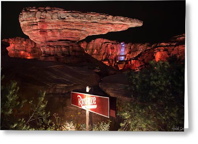 Disney Photographs Greeting Cards - Radiator Racers - Cars Land - Disneyland Greeting Card by Heidi Smith