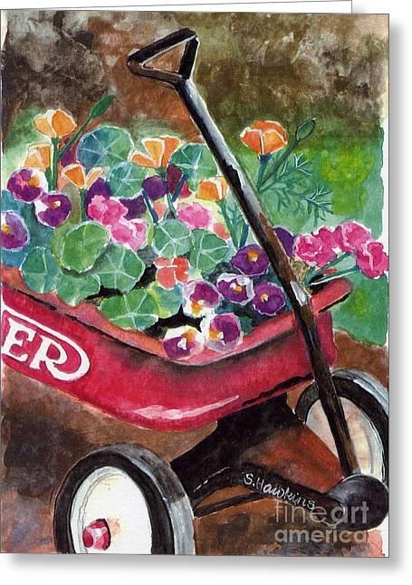 Flyer Paintings Greeting Cards - Radio Flyer Garden Greeting Card by Sheryl Heatherly Hawkins