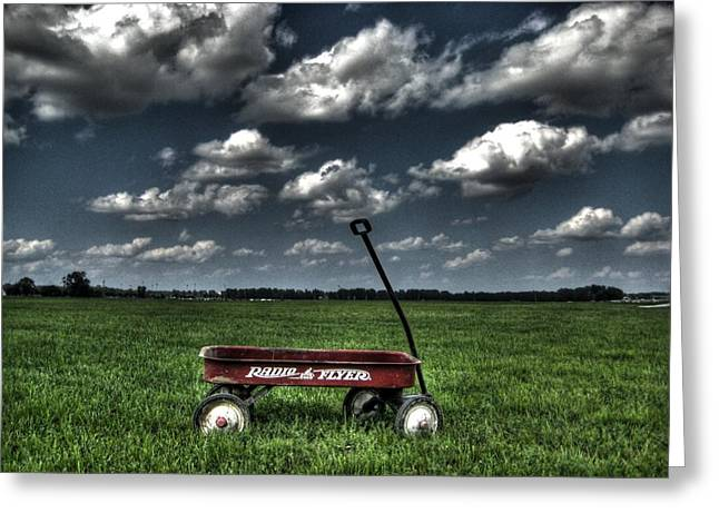 Red Wagon Greeting Cards - Radio Flyer Greeting Card by Jane Linders
