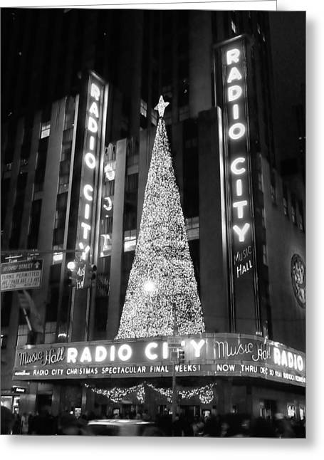 Radio Print Greeting Cards - Radio Glow Black and White Greeting Card by Meghan Flatley