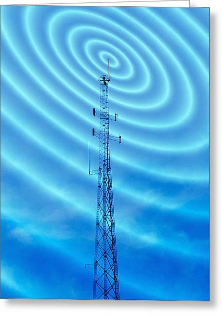 Radio Waves Greeting Cards - Radio Mast With Radio Waves Greeting Card by Mehau Kulyk