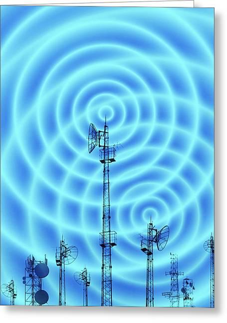 Radio Waves Greeting Cards - Radio Masts With Radio Waves Greeting Card by Mehau Kulyk