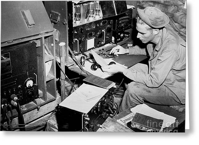Command Center Greeting Cards - Radio Operator Operates His Scr-188 Greeting Card by Stocktrek Images