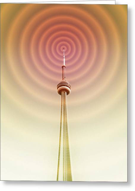 Technological Communication Greeting Cards - Radio Tower With Radio Waves Greeting Card by Mehau Kulyk