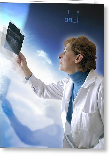 Medical X-ray Greeting Cards - Radiologist Studying An X-ray Greeting Card by Miriam Maslo