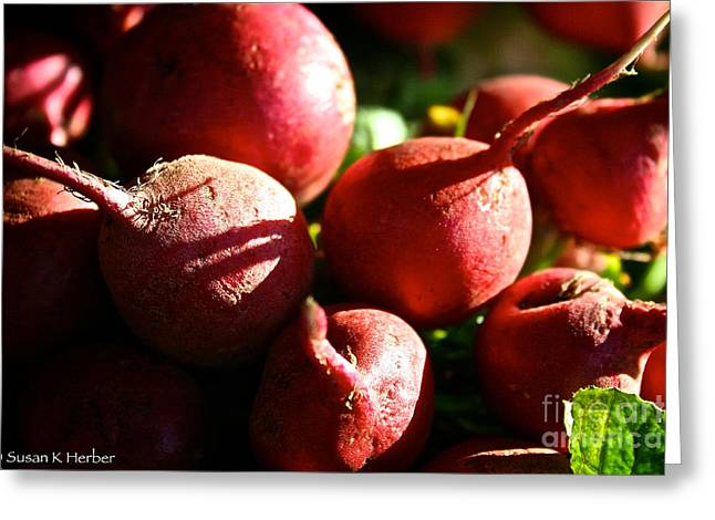 Radishes At Sunrise Greeting Card by Susan Herber