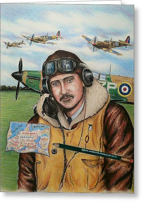 Spitfire Drawings Greeting Cards - RAF wartime pilot and pencil Greeting Card by Andrew Read