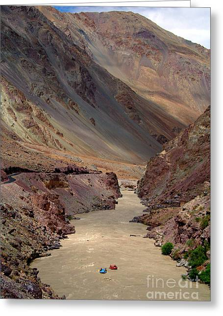 White Water Rafting Print Greeting Cards - Rafting on the Zanskar River Greeting Card by Serena Bowles