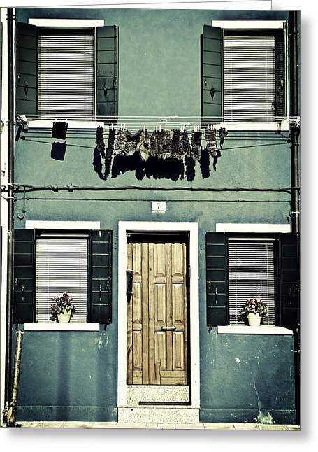 Clothes Line Greeting Cards - rags in Venice Greeting Card by Joana Kruse