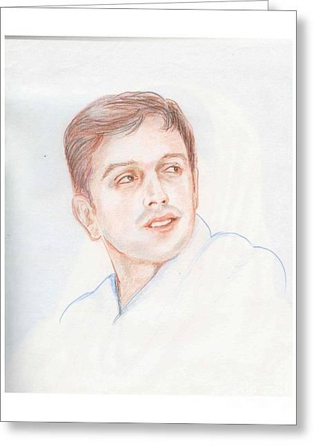 Cricketers Greeting Cards - Rahul Dravid  Indian Cricketer Greeting Card by Asha Sudhaker Shenoy